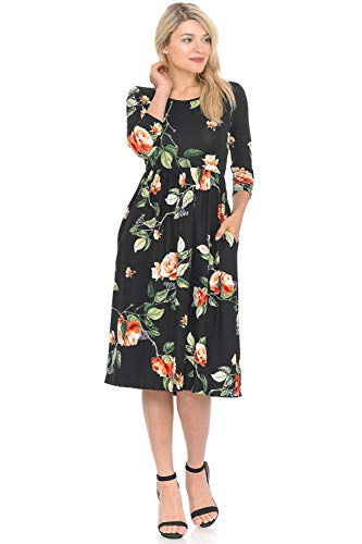 iconic luxe Women's Fit and Flare Midi Dress with Pockets Large Floral Black Coral