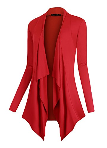 Urban CoCo Women's Drape Front Open Cardigan Long Sleeve Irregular Hem (L, Red)