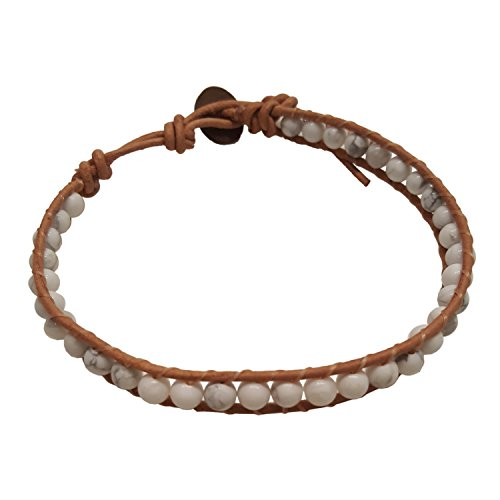 (Infinity Trendy Fashion Howlite Bead Bracelet Woven with Leather Cord 7.5 Inches Beautiful Handmade Hippie)