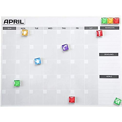 (No 8 Wire Provisions Magnetic Dry Erase Board Calendars and Bonus Magnets: Whiteboard 12 Month Calendar Organizer & Planner for Fridge or Office Wall - Plan Weekly Schedule & Family Chores)
