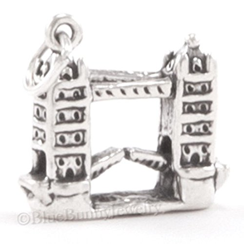 925 LONDON TOWER BRIDGE Charm Pendant England UK TRAVEL STERLING SILVER 3D .925 Jewelry Making Supply Pendant Bracelet DIY Crafting by Wholesale Charms (Sterling Silver Tower)