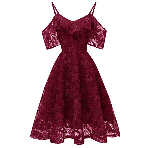 DEATU Princess Lace Dress Women Vintage Floral Cute Lace Cocktail Neckline Ladies Party Aline Swing Sleeveless Dress(Wine,L)