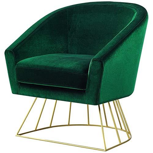 Posh Living Leo Green Velvet Accent Chair - Gold Metal Base - Barrel - Tufted