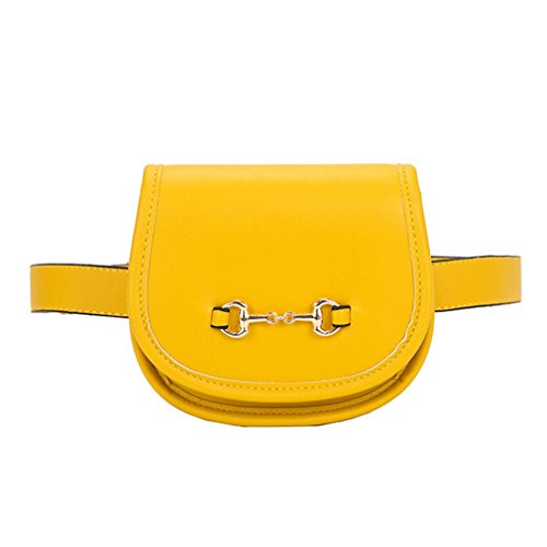 ZJ&OS NEW Arrival Fashion Women PU Leather Waist Pack Belt Bag Phone Pouch Bags yellow by ZJ&OS