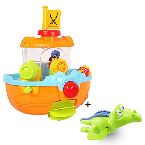 Cardboard Boat Costume (Baby Bath Toy Pirate Ship Water Fun Bathtub Bath Toy,with Water Cannon and Boat Scoop,with Crocodile Bath Toy,Nice Gift for Baby Toddler Kids)