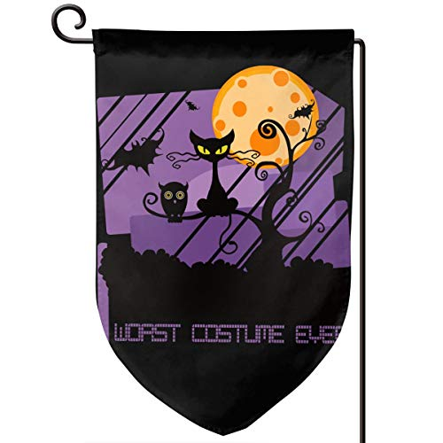 Worst Costume Ever Halloween Scared Black Cat Double Sided Indoor and Outdoor Home Decoration Double Stitched Holiday Garden Flag 12.5 X 18 Inches (Three -