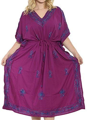 La Leela Rayon Leichten Tiefen Hals 5 in 1 Badeanzug Badebekleidung Bikini Strandparty Verschleiern Nachtzeug beiläufiges Kleid Tunika Top-Nachtkleid Kurz Kaftan Frauen Bestickt Maxi Violett_221 amkQ63BJ