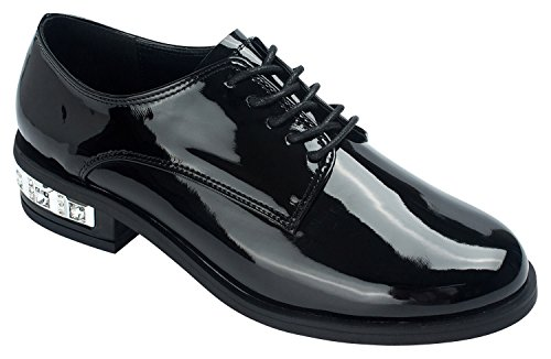 AnnaKastle Womens Lace Up Black Oxfords Shoes with Crystal Heel Black