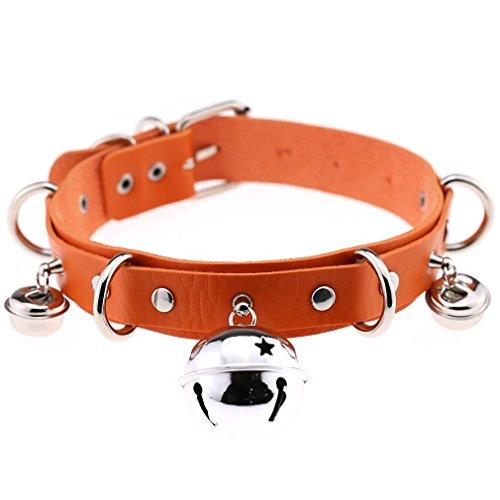 (FM FM42 Orange PU Simulated Leather 4cm Large Bell Rivets Neckband Choker Necklace)
