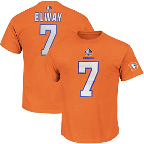 John Elway #7 Denver Broncos NFL Mens 3 Hit Hall Of Fame Player Shirt Orange Big & Tall Sizes (2XT)