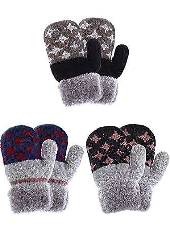 Amazon.com: Tatuo 3 Pairs Kids Full Finger Gloves Winter