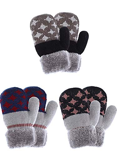 Tatuo 3 Pairs Kids Full Finger Gloves Winter Plush Lined Gloves Knitted Thicken Mittens for Infant Boys Girls Usage (Color Set 2)