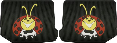 1998-2010 Volkswagen Beetle Colorful Lady BUG Logo Custom Fit - 2 Pc Rear Rubber Black Floor Mats Set (Lady Bug Car Mats compare prices)