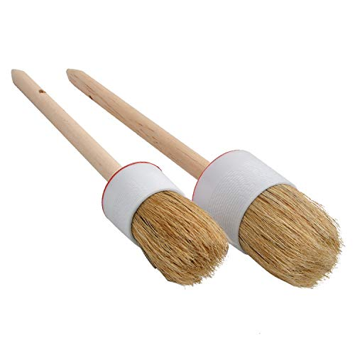 Milky House Paint Wax Brush,Painting Wall,Dressers,Cabinets and Other Wood Furniture,Round Paint Wood Handle Brushes with Bristles