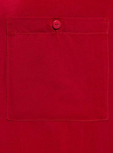 con 4500n Viscosa Ultra Rosso Tasche oodji sul Camicetta in Petto Donna vSBXdX