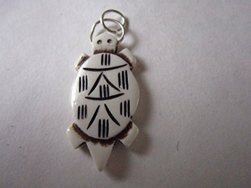 (10 Turtle Carved Buffalo Bone Pendants 1 3/4 inch Charms Beads Jewelry Crafts bt43)