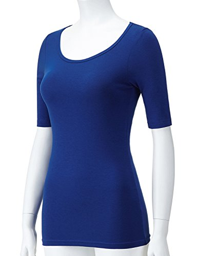 Regna X Love Coated Blue ComfortSoft Cami Boat Neck Long Sleeve T-Shirts,Scoop_Blue,XX-Large Plus by Regna X (Image #4)