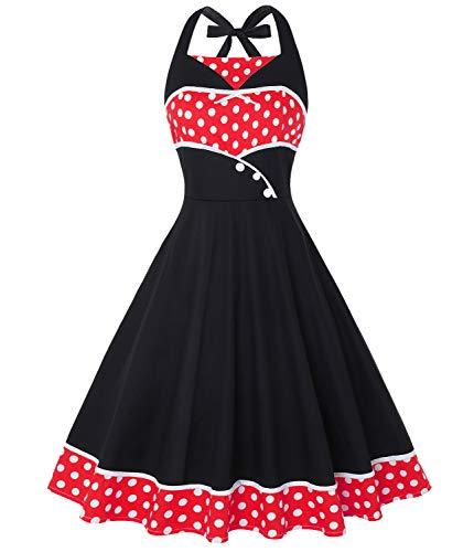 - Tecrio Women 1950's Marilyn Monroe Sleeveless Halter Tie Rockabilly Party Dress XXL Red