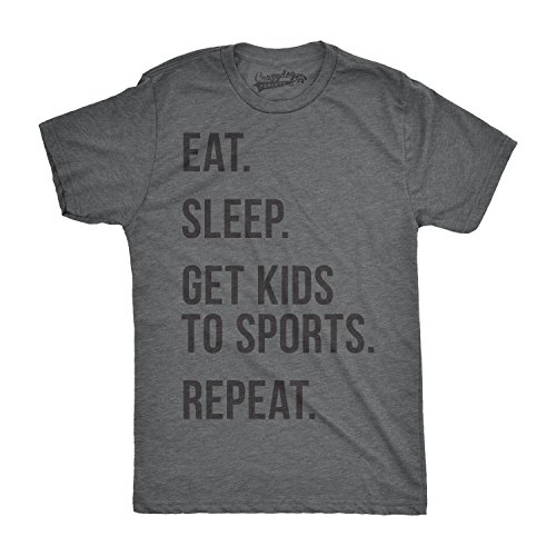 Crazy Dog TShirts - Mens Eat Sleep Get Kids To Sports Funny T shirts for Moms Dads Novelty Gift Idea T shirt (Grey) 5XL - herren - 5XL