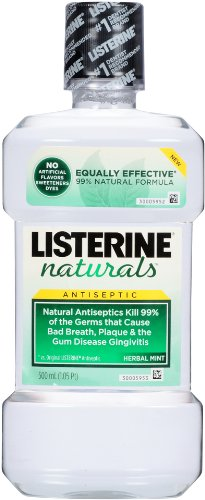 Listerine Naturals Antiseptic Adult Mouthwash, Herbal Mint, 16.91 Fluid Ounce (Pack of 12)