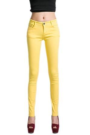 DELEY Mujeres Básica piernas Flacas Pantalones Vaqueros ...