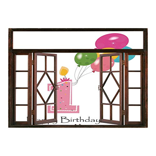 SCOCICI Wall Mural, Window Frame Mural/1st Birthday Decorations,Baby