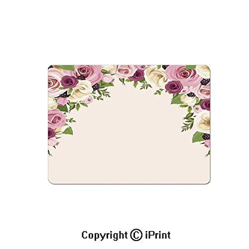 Large Gaming Mouse Pad Roses and Lisianthus Berries Arch Decoration Marriage Gatherings Artistic Design Extended Mat Desk Pad Mousepad Non-Slip Rubber Mice Pads 9.8