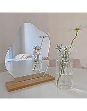 Acryl make-up spiegel frameloze decoratieve ijdelheid tafel spiegel make-up onregelmatige vorm met houten voet voor slaapkamer, woonkamer en minimale ruimtes kamer decor
