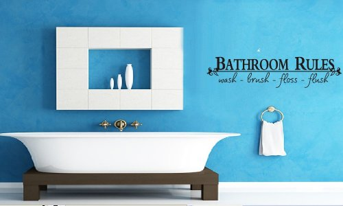 "Toprate(TM) BATHROOM RULES Wash Brush Floss Flush "" Quote Saying Wall Sticker Decal For Bathroom"