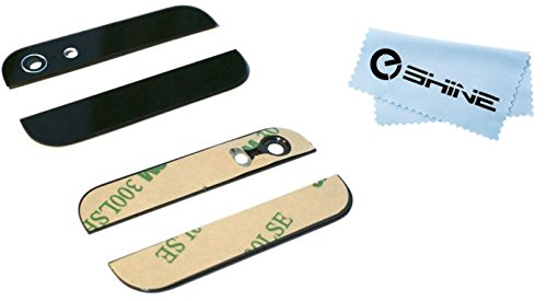 Eshine Top and Bottom Preinstalled Lens Back Glass Replacement with 3M Stickers for iPhone 5