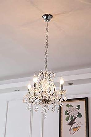 Saint Mossi Modern K9 Crystal Raindrop Chandelier Lighting Flush Mount LED Ceiling Light Fixture Pendant Lamp for Dining Room Bathroom Bedroom Livingroom 4 E12 LED Bulbs Required Height 18 x Width 17