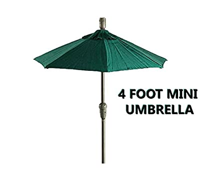 MINI 4 Foot TINY FOREST GREEN Patio Umbrella W/Miniature Polyester Canopy