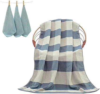 uniui 70 x 140 cm extra grande de algodón rayas/cuadros toallas de baño Set con 3 piezas pequeñas toallas de mano de manta de – ideal para ...