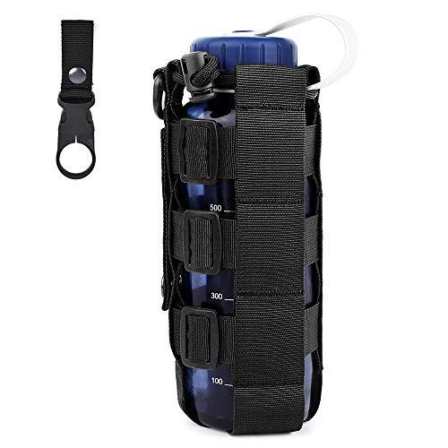 FUNANASUN Water Bottle Pouch Holder, Adjustable Tactical MOLLE Drawstring Water Bottle Carrier Belt Attachment for Camping Hiking Fishing (Bottle Holder Belt Buckle)