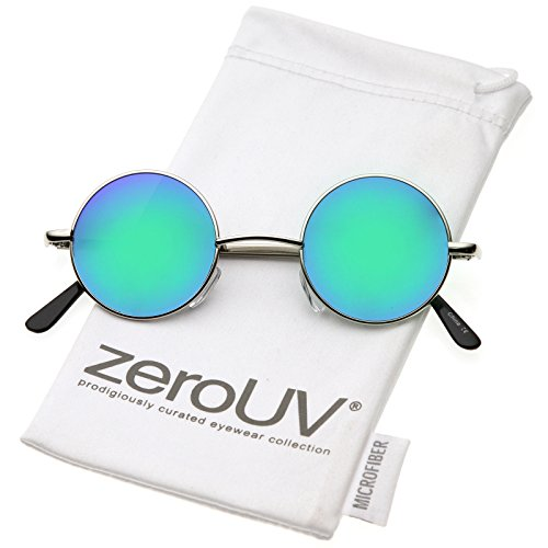 zeroUV - Retro Round Sunglasses for Men Women with Color Mirrored Lens John Lennon Glasses (Silver/Blue-Green)