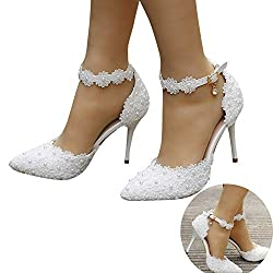 Women's Pearl Lace Floral Embroidery Bridal Heels