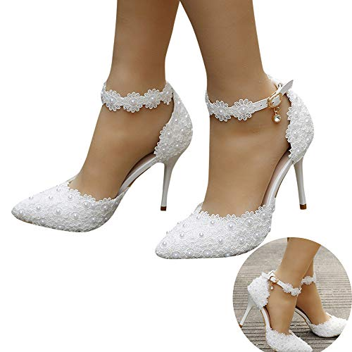 Woman Bridal Shoes Pearl Lace Floral Embroidery Stiletto Comfy Heel Lace Satin Pumps Satin Flower Net Yarn Wedding Party Shoes (White, 7 M US)