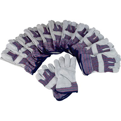 Ironton Split Cowhide Palm Work Gloves - 12 Pair