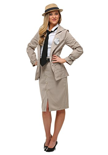 Adult Miss Private Eye Costume X-Large Cream -
