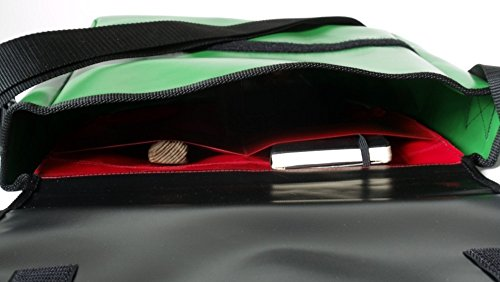 Schultertasche Notenschlüssel Rot/Grün/Schwarz mit Reissverschlußfach H30 B32 T11
