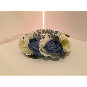Candle Holder Arrangement- Geometric Cut Glass - Blue and White Mixed Floral 59