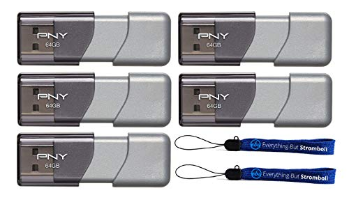 PNY 64GB USB 3.0 Flash Drive Elite Turbo Attache 3 (Five Pack Bundle) Model P-FD64GTBOP-GE Plus (2) Everything But Stromboli (TM) -