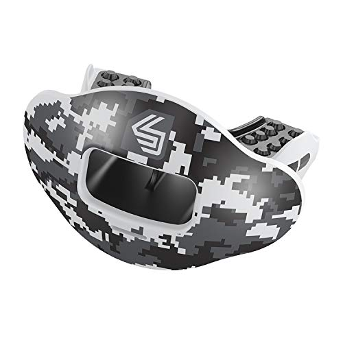 Shock Doctor Max Airflow 2.0 Lip Guard / Mouth Guard. Football Mouthguard 3500. For Youth and Adults OSFA. Breathable Wide Opening Mouthpiece. Helmet Strap Included