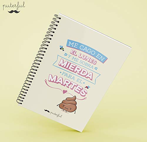 Puterful Cuaderno A5 Me CAGO en el Lunes mr: Amazon.es ...