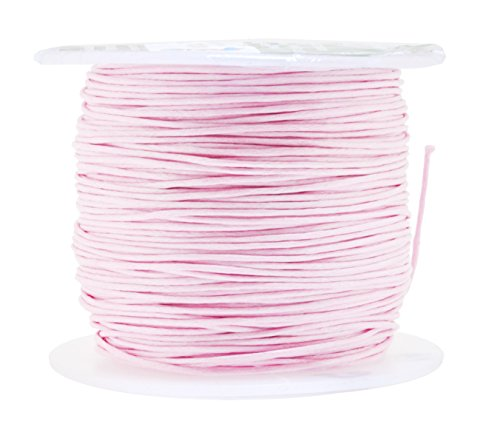 (Mandala Crafts 0.5mm 109 Yards Jewelry Making Crafting Beading Macramé Waxed Cotton Cord Thread (Pink))