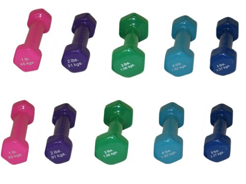 10 Piece 1 Light (CanDo® Vinyl Coated Dumbbell - 10-Piece Set - 2 each 1, 2, 3, 4, 5)
