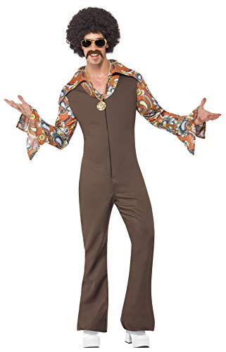Smiffys Men's Groovy Boogie Costume, Jumpsuit with Attached Shirt, 70 Disco, Serious Fun, Size L, 43860 ()