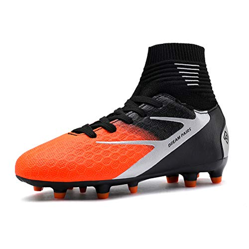 DREAM PAIRS Boys Girls HZ19002K Black Grey Orange Soccer Football Cleats Shoes Size 12 M US Little Kid (Shoes Kids Football)