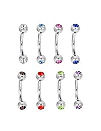 16g Curved Barbell Double Sided Gem 316l Surgical Steel