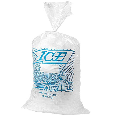 APQ Pack of 100 Printed Metallocene Ice Bags 8 x 3 x 20 Gusseted Poly Bags 8x3x20 FDA Approved 8 lb. Polyethylene Expandable Bags with 1.20 Mil. Ideal for Industrial, Food Service, Healthcare Needs. from APQ Supply